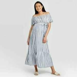 Isabel Maternity Striped Off The Shoulder Maxi M